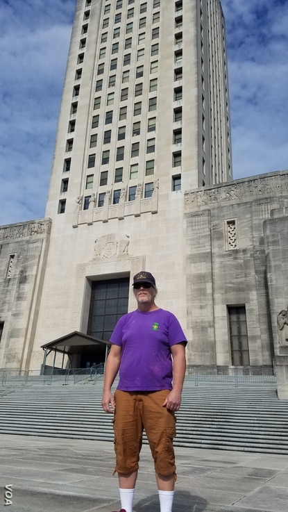 Tom Deel came to the Lousiana State Capitol Building in Baton Rouge on January 20, 2021 to protest what he feels is the widespread disregard of the laws and values outlined in the U.S. Constitution.