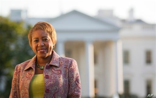 Former White House chief usher Angella Reid in Lafayette Park in front of the White House, Oct. 18, 2011, in Washington.