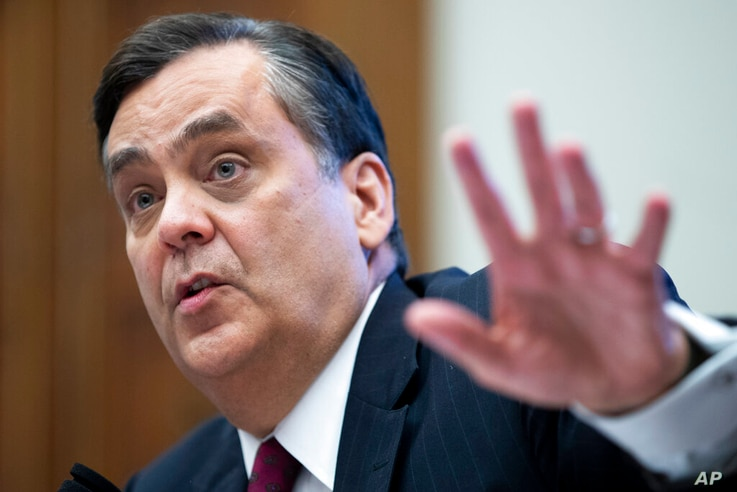 George Washington University Law School Law Professor Jonathan Turley, testifies Monday, June 29, 2020, on Capitol Hill in…