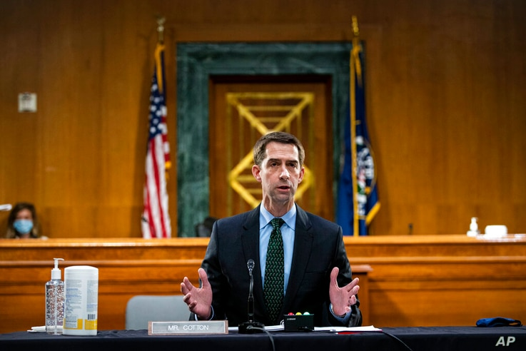 Sen. Tom Cotton, R-Ark., speaks as Federal Reserve Chair Jerome Powell and Treasury Secretary Steven Mnuchin, not pictured,…