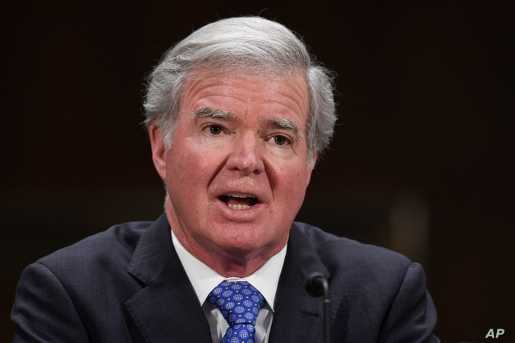 FILE - In this Feb. 11, 2020, file photo, NCAA President Mark Emmert testifies during a Senate Commerce subcommittee hearing on…