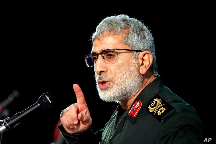 Gen. Esmail Ghaani, Soleimani's successor as the new head of Quds Force speaks during a ceremony on the occasion of first…