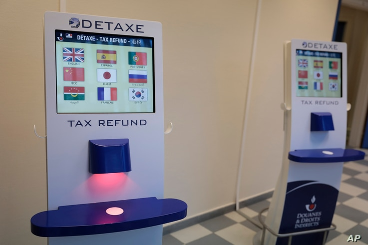 Tax refund electronic machines are displayed Friday Jan.1, 2021 in the port of Calais, northern France.