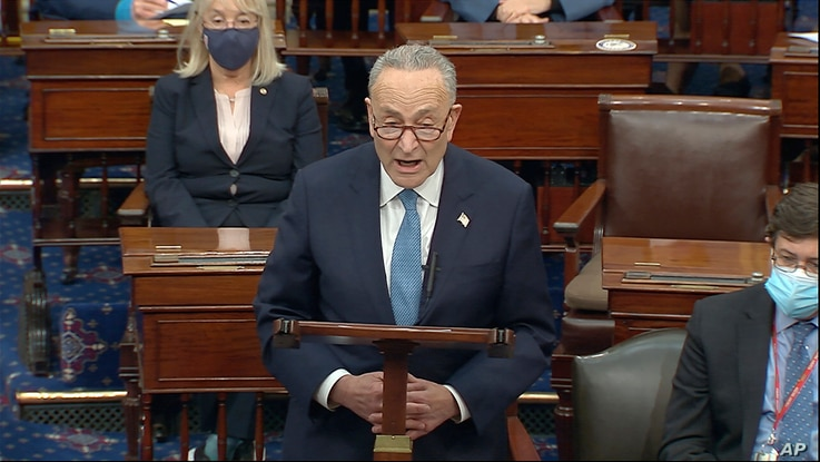In this image from video, Senate Minority Leader Chuck Schumer of N.Y., speaks as the Senate reconvenes after protesters...