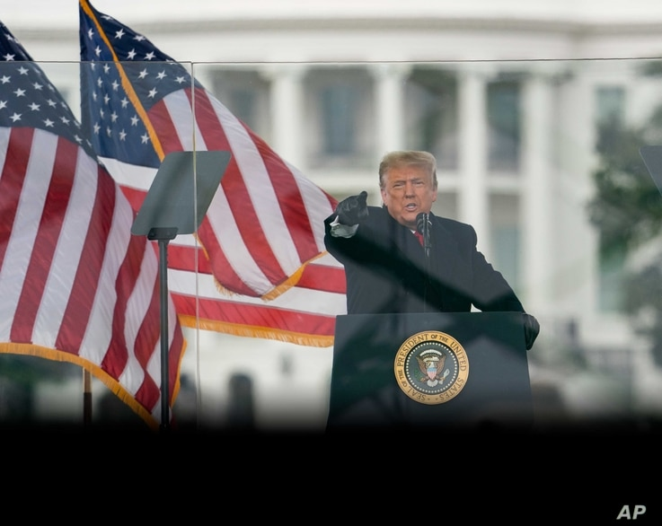 President Donald Trump speaks at a rally Wednesday, Jan. 6, 2021, in Washington.