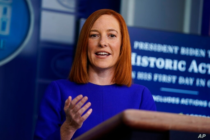 White House press secretary Jen Psaki speaks during a press briefing at the White House, Wednesday, Jan. 20, 2021, in...