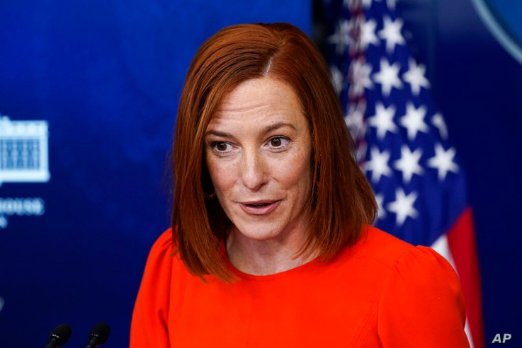 White House press secretary Jen Psaki speaks with reporters in the James Brady Press Briefing Room at the White House, Thursday...