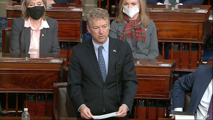 In this image from video, Sen. Rand Paul, R-Ky., makes a motion that the impeachment trial against former President Donald...