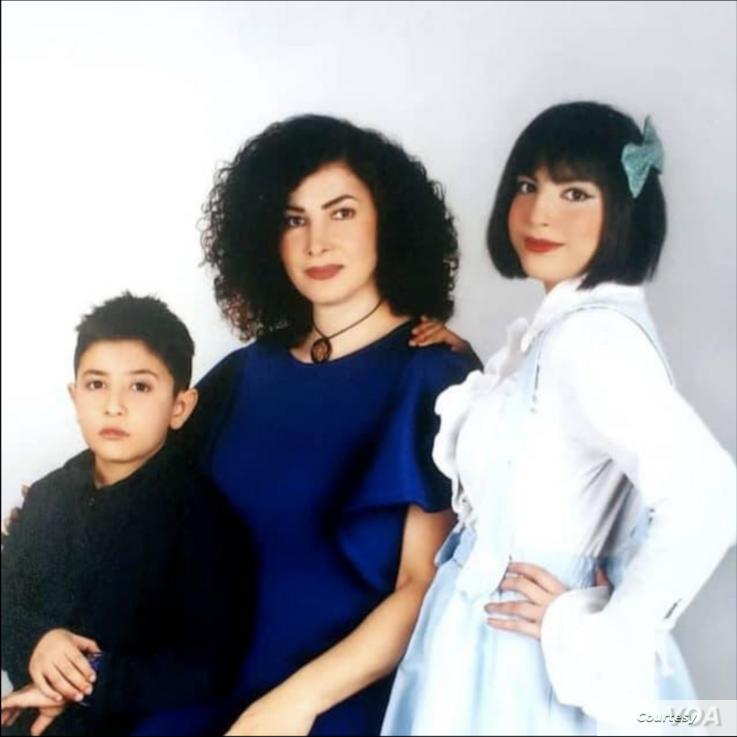 Alireza Ghandchi's wife Faezeh Falsafi and two children Daniel and Dorsa, passengers killed in Iran's shoot-down of a Ukrainian plane near Tehran on Jan. 8, 2020. (Courtesy of family)