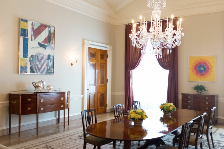 First families can choose furnishings and art from the White House's extensive collection. Photograph of the Family Dining Room in 2015, during the Barack Obama administration. (White House Historical Association)