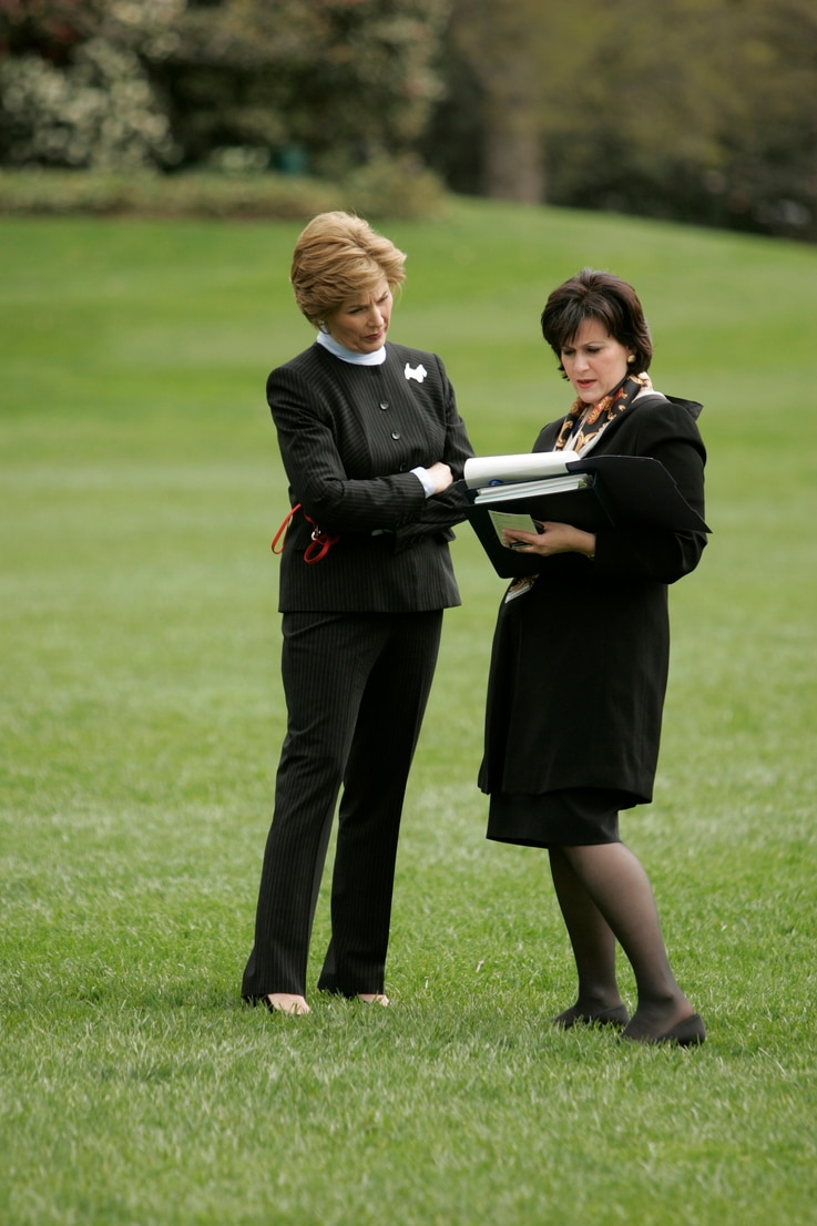 Anita McBride with then-first lady Laura Bush. (White House Photo)