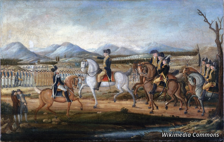 George Washington reviews the troops near Fort Cumberland, Maryland, before their march to suppress the Whiskey Rebellion in Pennsylvania.