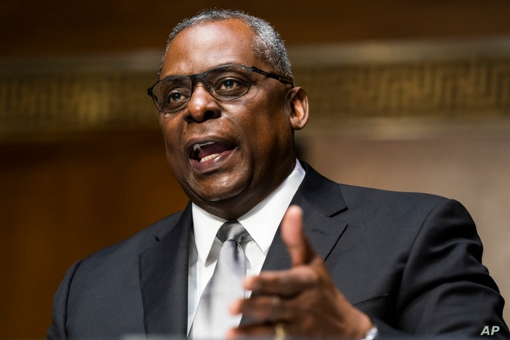 Secretary of Defense nominee Lloyd Austin, a recently retired Army general, speaks during his conformation hearing before the Senate Armed Services Committee on Capitol Hill, Jan. 19, 2021, in Washington.