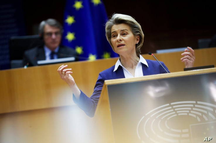 European Commission President Ursula Von Der Leyen addresses European lawmakers during a plenary session on the inauguration of the new  U.S. president and the current political situation, at the European Parliament in Brussels, Jan. 20, 20