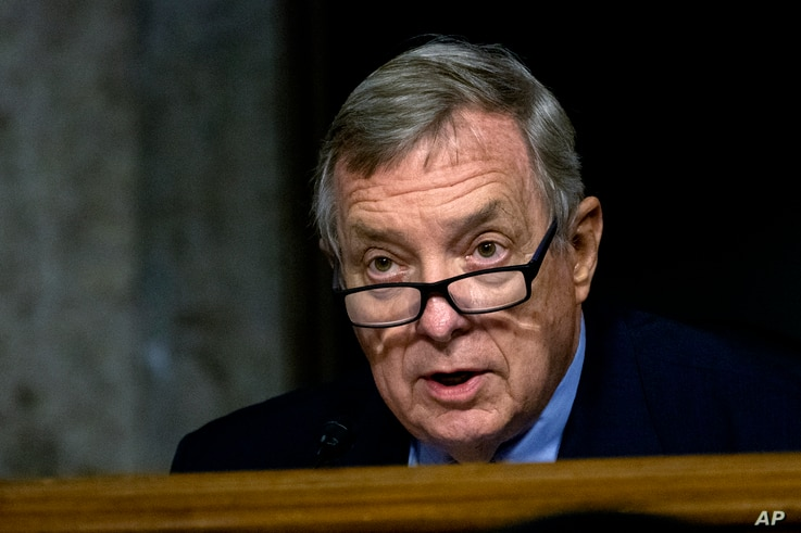 Sen. Richard Durbin, D-Ill., speaks during a Senate Judiciary Committee oversight hearing on Capitol Hill in Washington, Aug. 5, 2020, to examine the Crossfire Hurricane investigation.