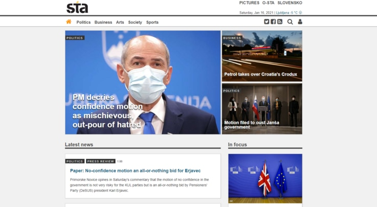 A portion of the home page of Slovenia public news agency STA.