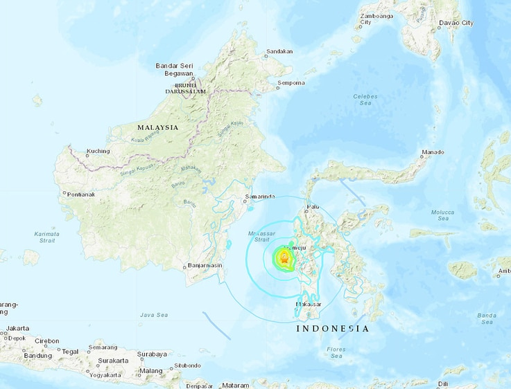Indonesia earthquake locator map, Jan. 15, 2021 (Credit: USGS)