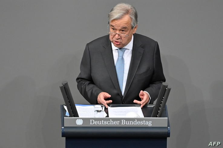 The Secretary General of the United Nations (UN) Antonio Guterres  speaks at the Bundestag (lower house of parliament) on…