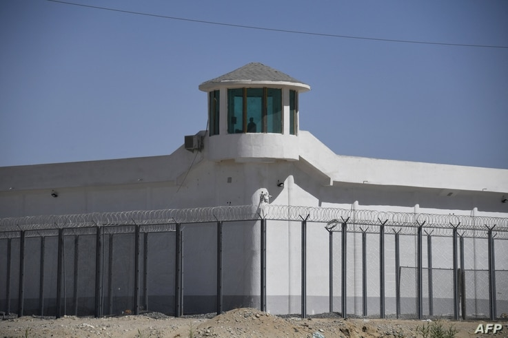 This file photo taken on May 31, 2019 shows a watchtower on a high-security facility near what is believed to be a re…