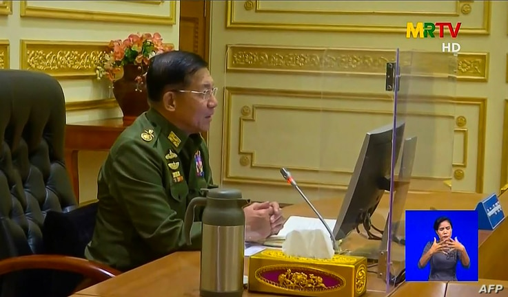 This screengrab provided via AFPTV and taken from a broadcast by Myanmar Radio and Television (MRTV) in Myanmar on February 2,…