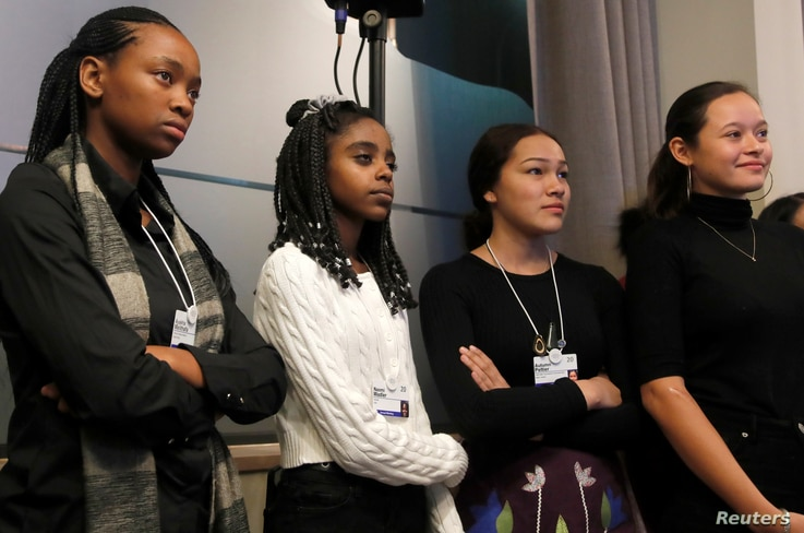 Young environmental activists Ayakha Melithafa of South Africa, Naomi Wadler of the U.S., Autumn Peltier of Canada and Melati…