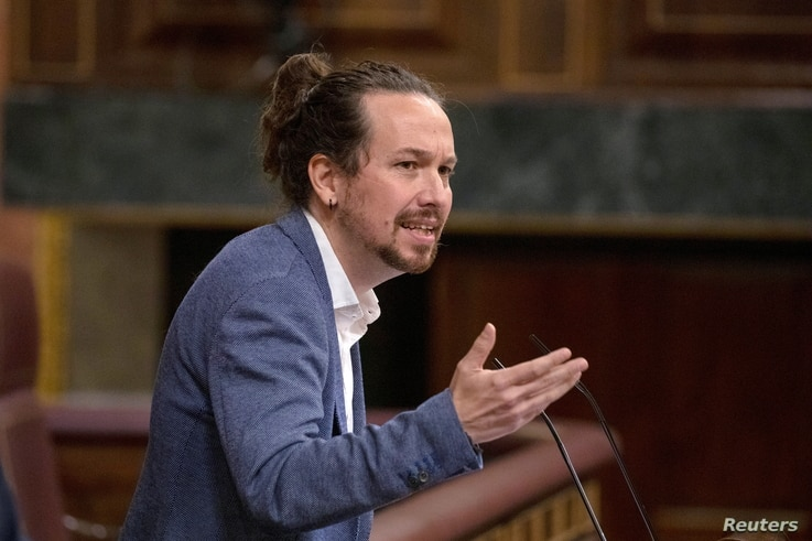Spanish second Deputy Prime Minister Pablo Iglesias delivers his speech during a no confidence motion against the government at...