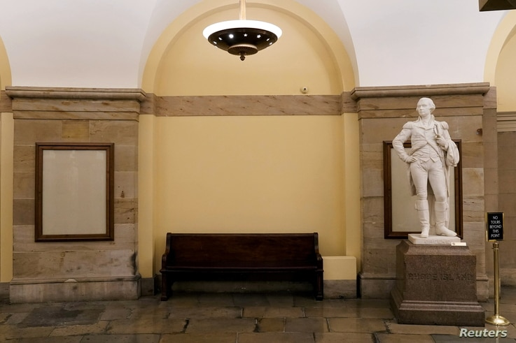 The spot in the U.S. Capitol's crypt where a statue of Confederate General Robert E. Lee had been, now sits empty, after the...