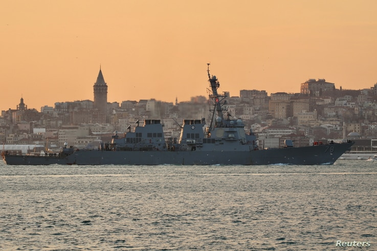 U.S. Navy guided-missile destroyer USS Porter (DDG 78) sails in the Bosphorus, on its way to the Black Sea, in Istanbul, Turkey…