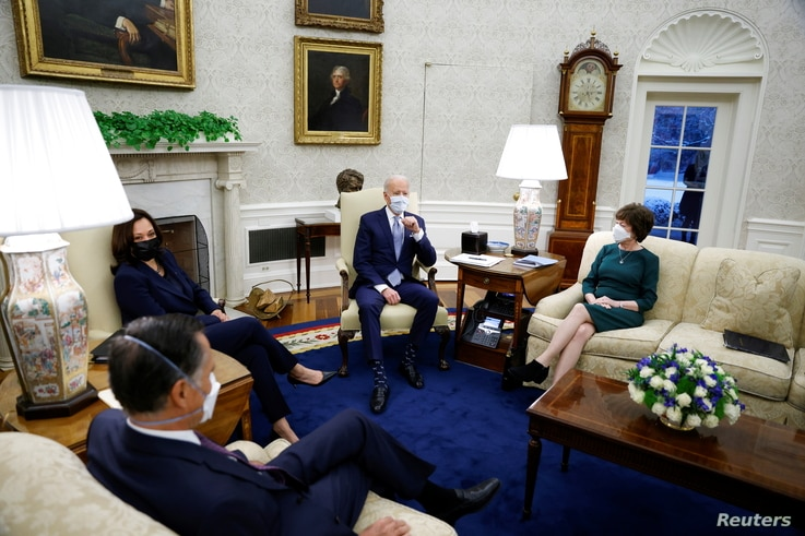 U.S. President Joe Biden and Vice President Kamala Harris meet with a group of Republican Senators to discuss coronavirus…