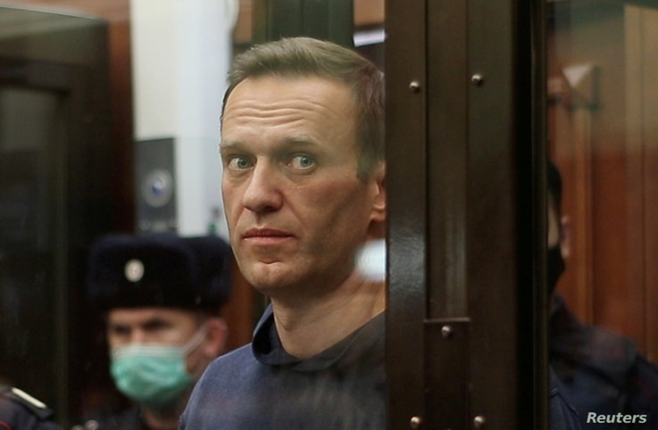 A still image taken from video footage shows Russian opposition leader Alexei Navalny