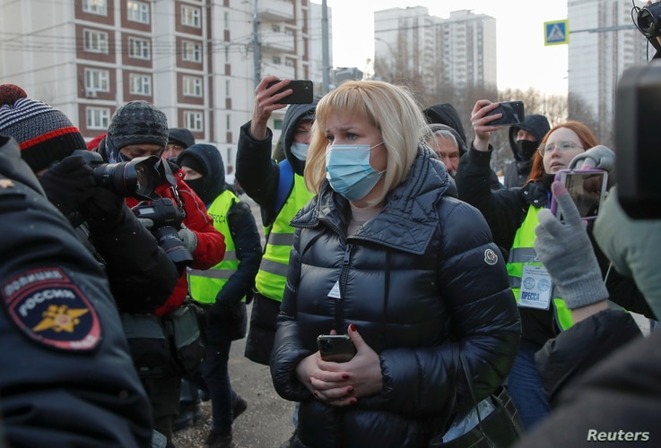 Olga Mikhailova, lawyer of Kremlin critic Alexei Navalny, arrives at a court building before a hearing to consider the case…