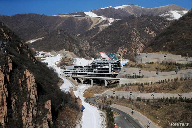 A general view shows the National Alpine Skiing Centre, a venue of the 2022 Winter Olympic Games, during an organised media…