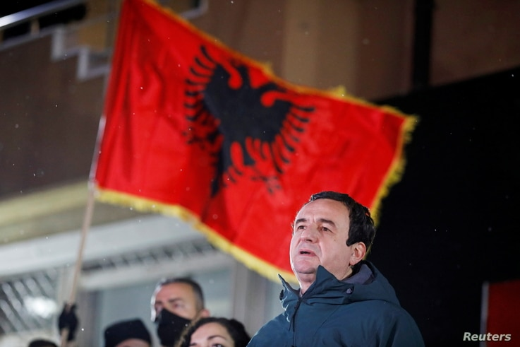 Vetevendosje (Self-determination) party leader Albin Kurti speaks during a news conference after preliminary results of the parliamentary election in Pristina, Kosovo, Feb. 14, 2021.
