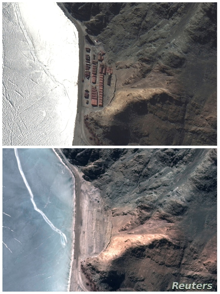 A combination photo shows closer view of an area known as Finger 6 with deployments in place (top) and deployments removed at…