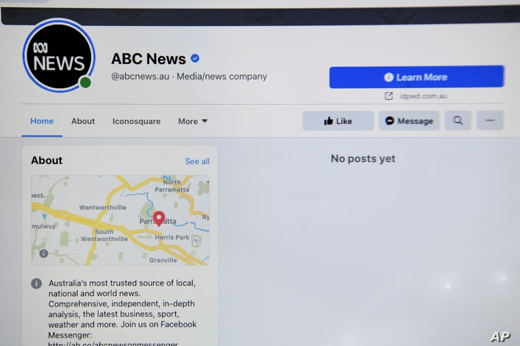 The ABC News Facebook page is seen on a screen in Canberra, Australia, Feb. 18, 2021.   AAP Image/Lukas Coch/via REUTERS   …