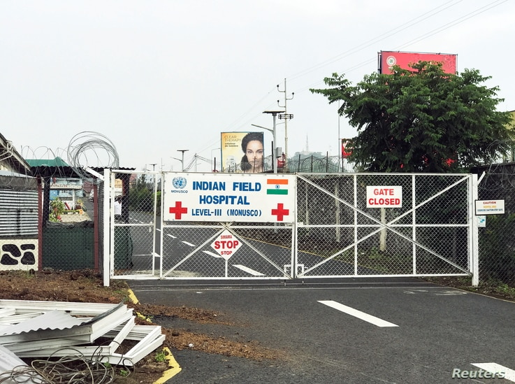 A general view of locked entrance to Level III Indian Field Hospital, where dead body of Italian Ambassador Luca Attanasio lies.
