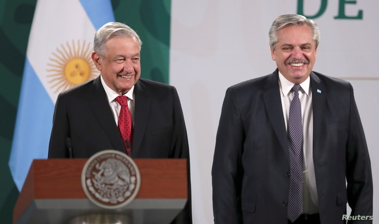 Mexico's President Andres Manuel Lopez Obrador and Argentina's President Alberto Fernandez attend a news conference at the...