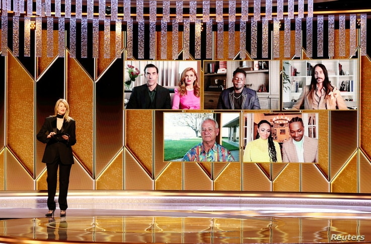 Actor Laura Dern presents the Best Supporting Actor award, in this handout photo from the 78th Annual Golden Globe Awards in Beverly Hills, California, Feb. 28, 2021.