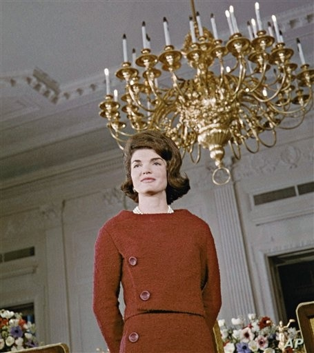 Jacqueline Kennedy poses during a tour of the White House East Room in Washington in 1962.