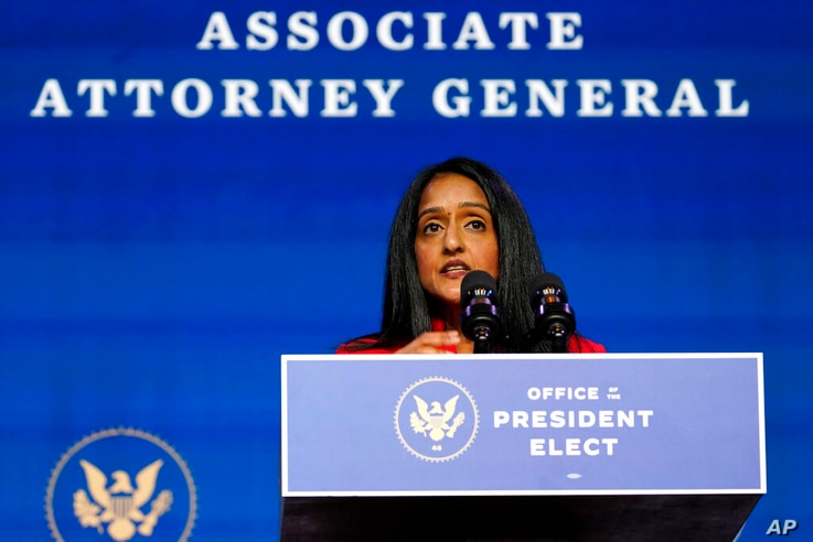 Associate Attorney General nominee Vanita Gupta speaks during an event with President-elect Joe Biden and Vice President-elect...