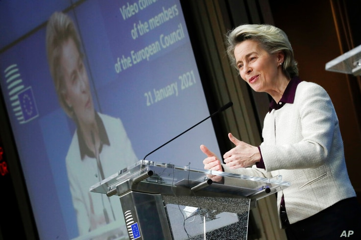 European Commission President Ursula von der Leyen speaks during a joint news conference with European Council President…
