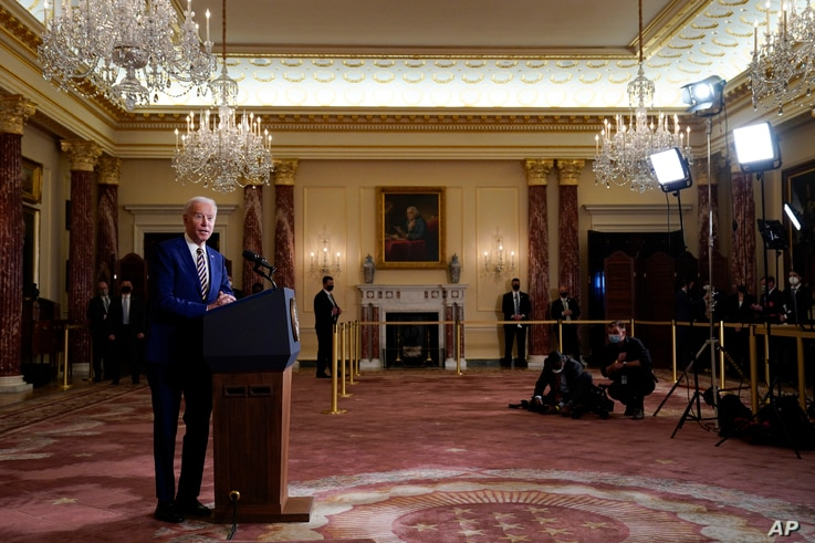 FILE - In this Feb. 4, 2021, file photo, President Joe Biden speaks about foreign policy, at the State Department in Washington…