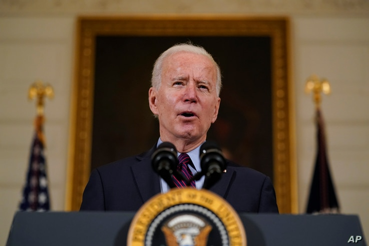 President Joe Biden speaks about the economy in the State Dinning Room of the White House, Friday, Feb. 5, 2021, in Washington…