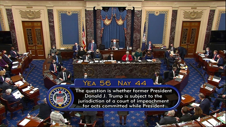 In this image from video, the vote total on the question of the constitutionality of the impeachment trial against former…