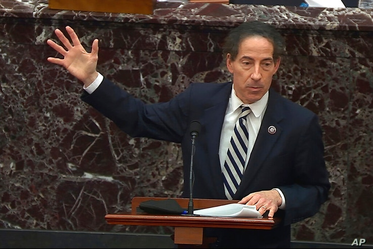 In this image from video, House impeachment manager Rep. Jamie Raskin, D-Md., speaks during the second impeachment trial of…