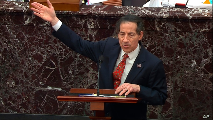 In this image from video, House impeachment manager Rep. Jamie Raskin, D-Md., answers a question from Sen. Ted Cruz, R-Texas,…
