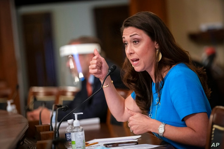 FILE - In this June 4, 2020, file photo, Rep. Jaime Herrera Beutler, R-Wash., speaks during a Labor, Health and Human Services,…