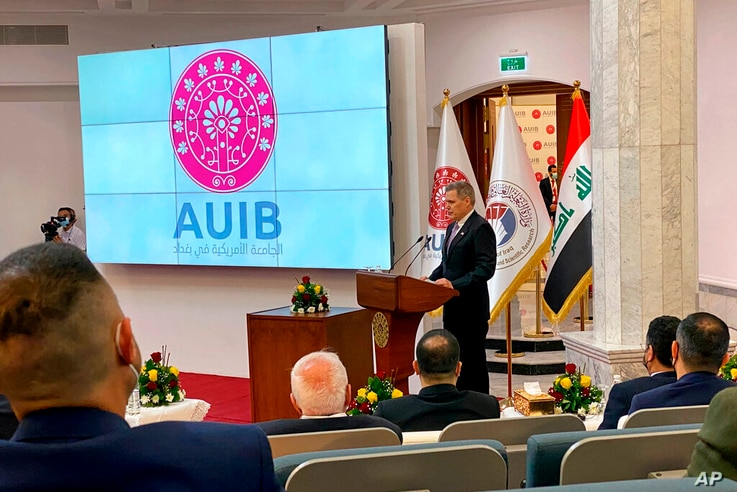 Matthew Tueller, U.S. Ambassador to Iraq, speaks during the opening ceremony of the American University in Baghdad, Iraq,…