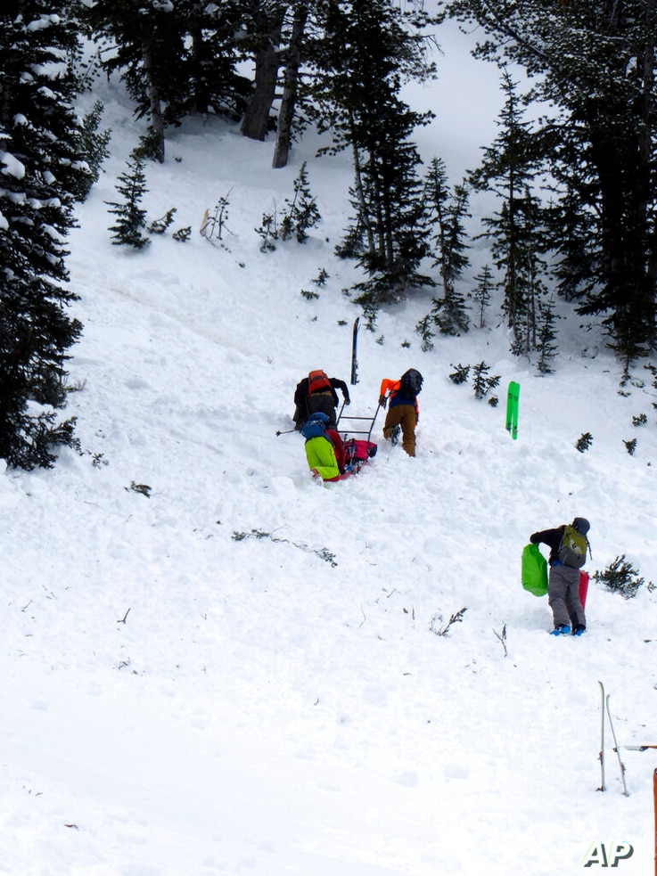 This aerial photo provided by Gallatin National Forest Avalanche Center shows a ground team approaching the area of an…