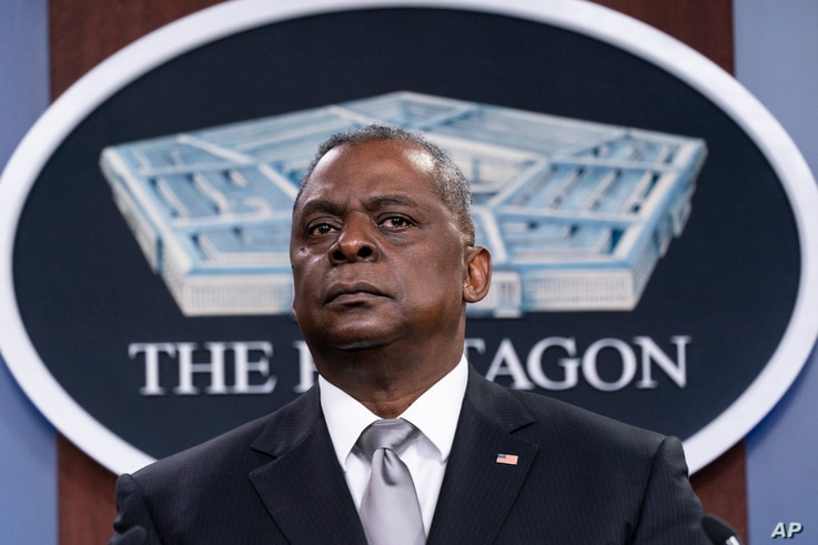 Secretary of Defense Lloyd Austin listens to a question as he speaks during a media briefing at the Pentagon, Feb. 19.